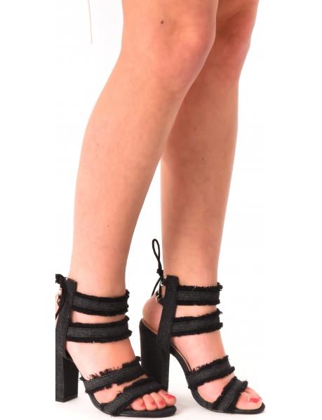 Sandales à talons en jeans