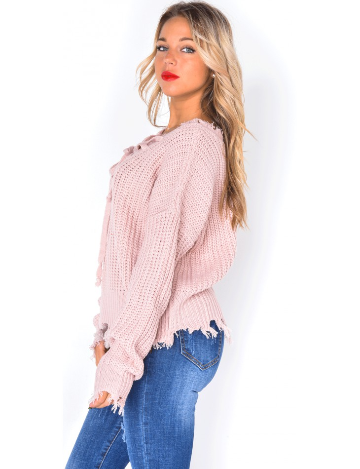 Ripped Lace Up Ribbed Jumper