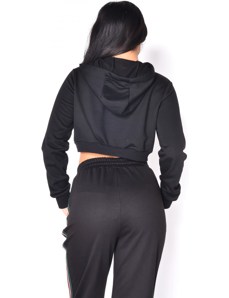 Sweat cropped à bandes