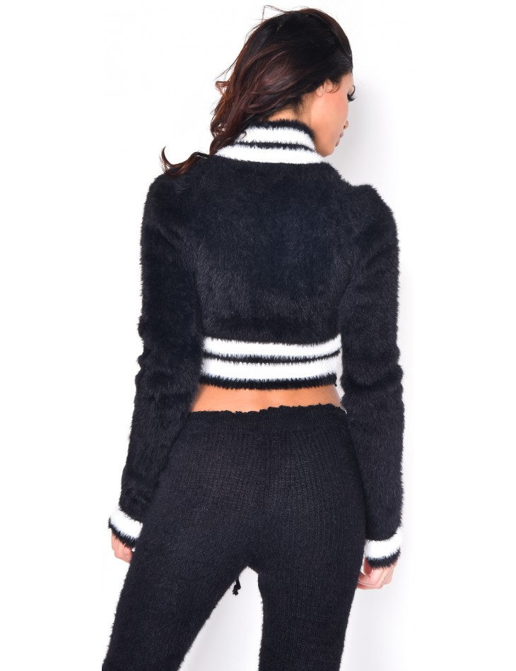 Soft Short Jumper with Stripes