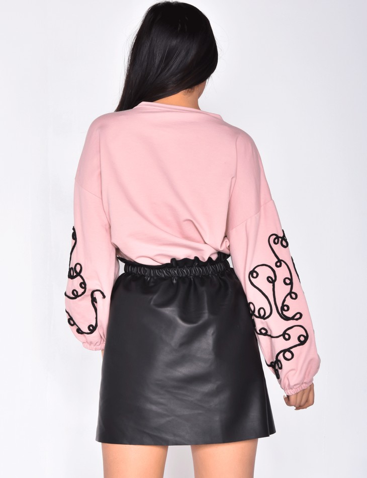 Sweatshirt with Embroidered Pattern