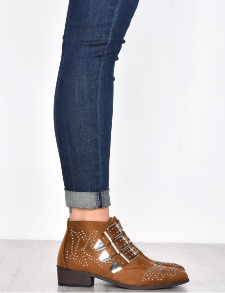 Suedette Studded Ankle Boots