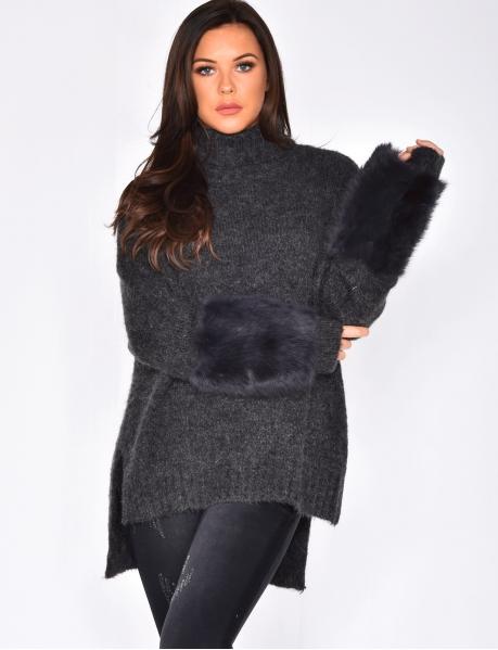 Pull en laine à fourrure