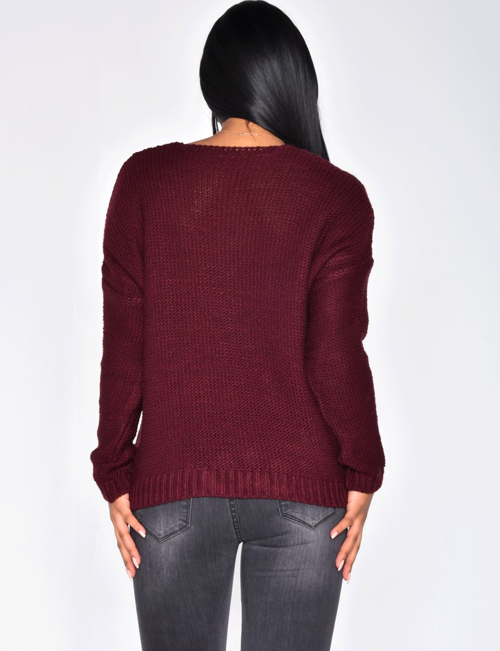 Cable knit jumper with ribbons