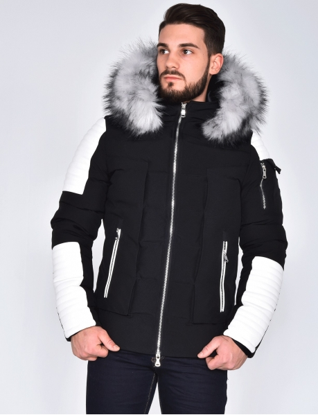 Jacket with Faux Leather Inserts and Fur