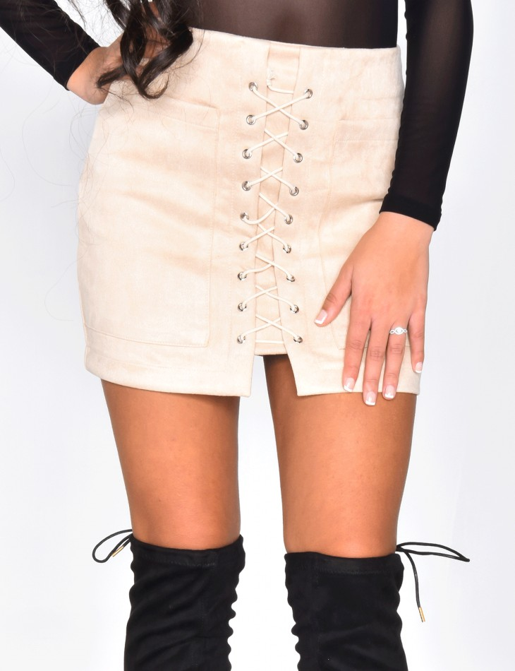 Suedette Lace Up Skirt