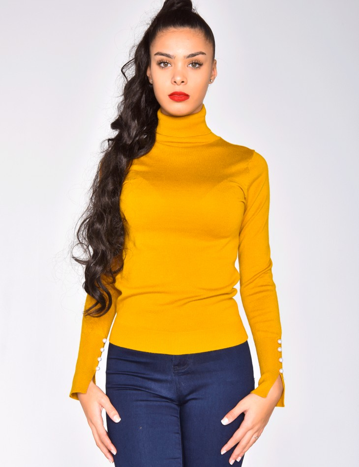 Polo Neck Jumper with Pearls