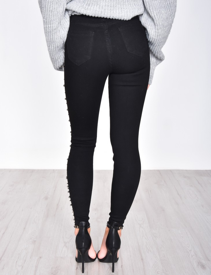 Jeans skinny noir à perles