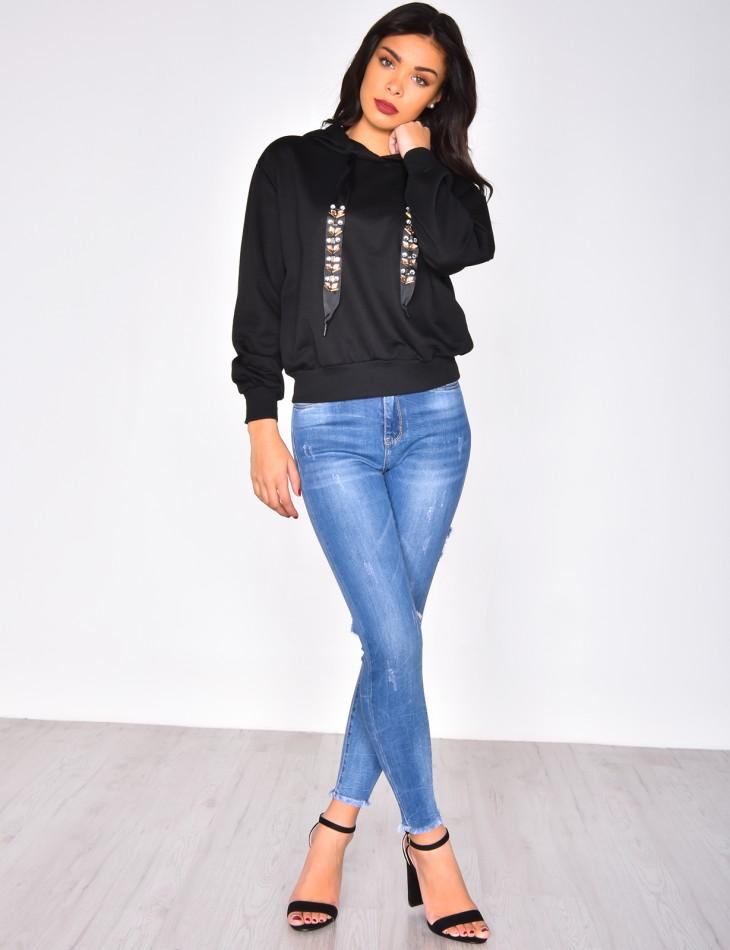 Sweatshirt with Satin Rhinestone Laces