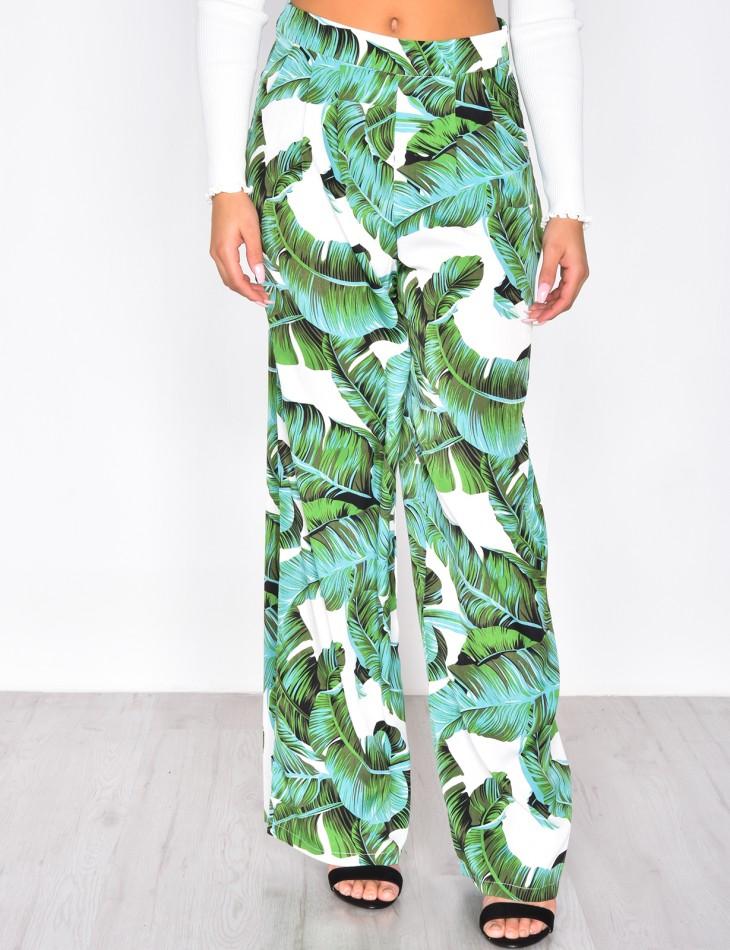 Pantalon fluide motif feuilles