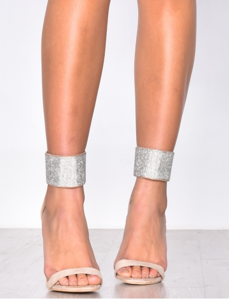 Sandales à talons en suédine à strass