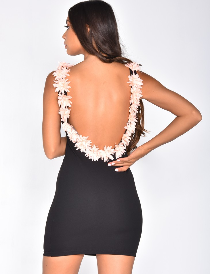 Backless Dress with Flowers