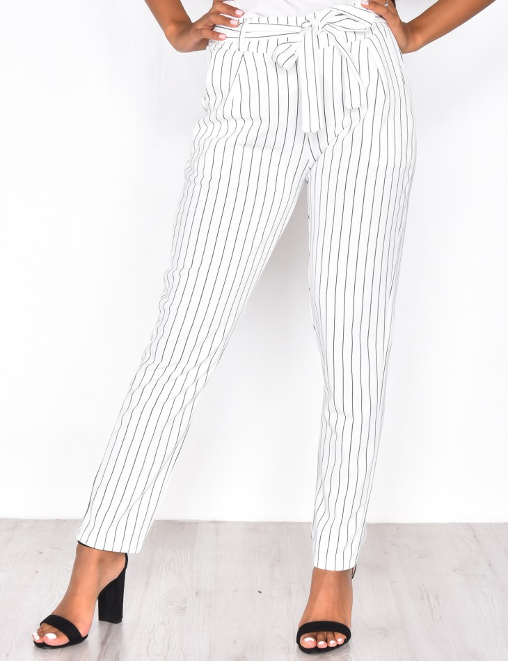 Striped Tie Suit Trousers