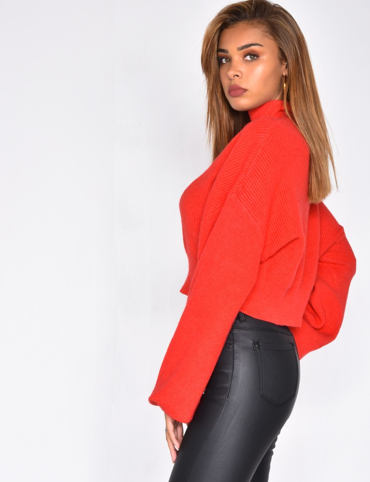 High Neck Short Jumper with Wide Sleeves