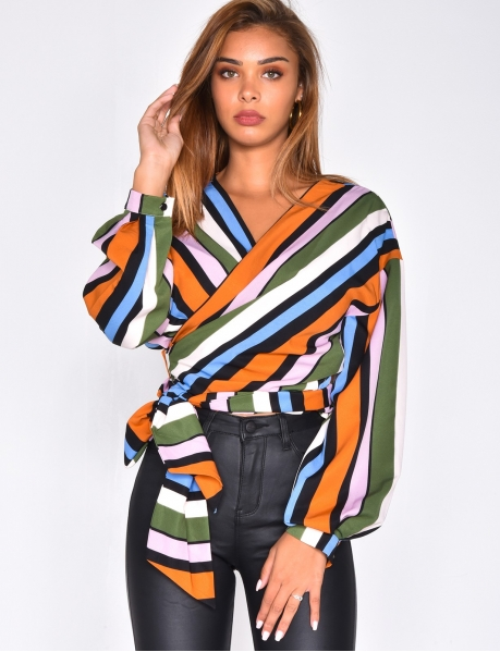 Striped Wrapover Blouse