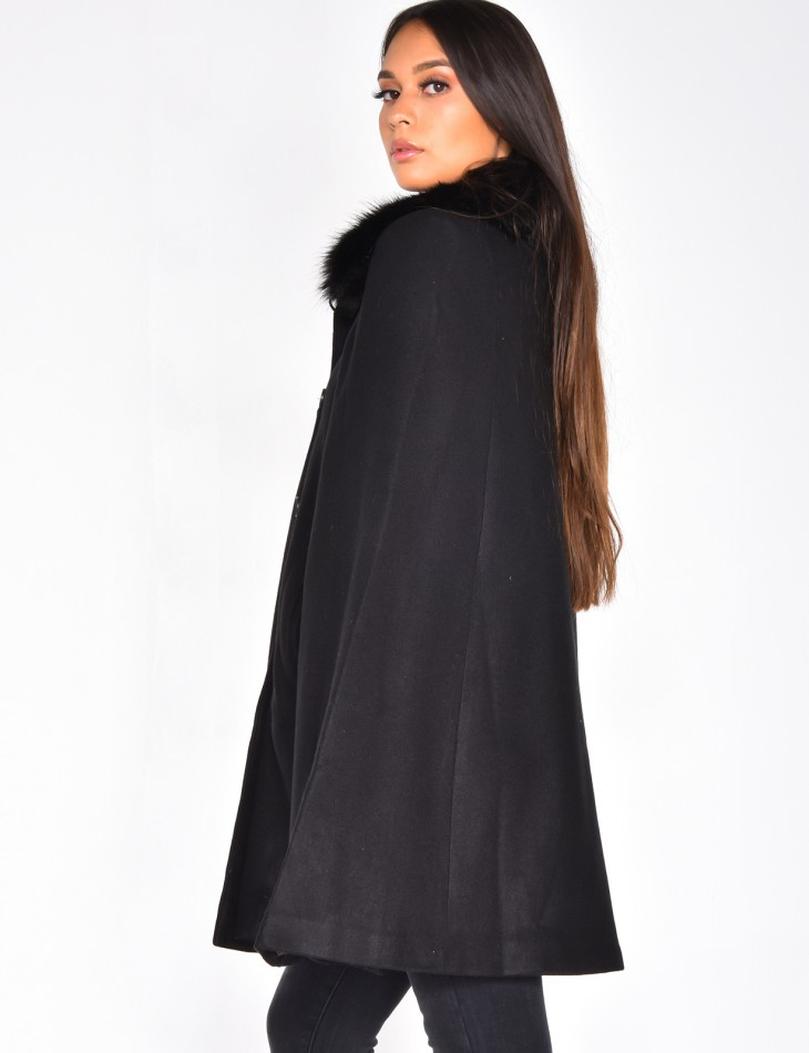 Long Faux Fur Cape Coat