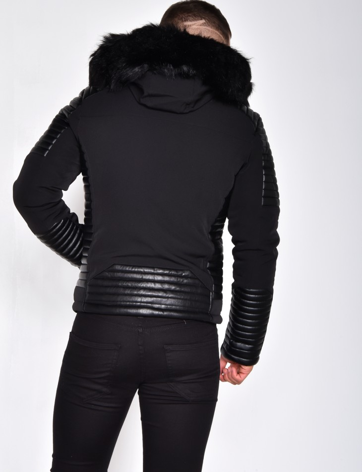 Jacket with quilted insert with zips and fur hood