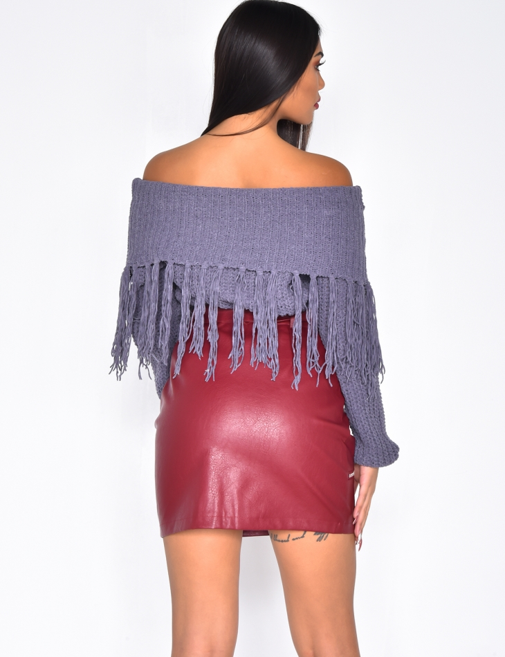Bardot Chenille Jumper with Fringes