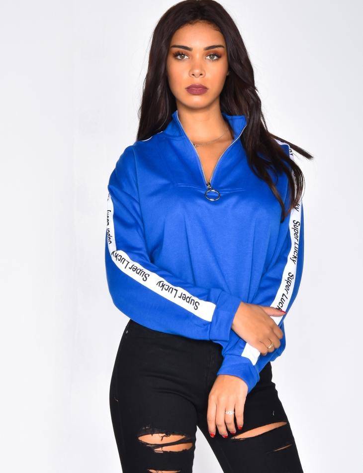 'Super Lucky' Sweatshirt with Zip