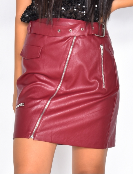 PU Leather Skirt with Zip and Belt