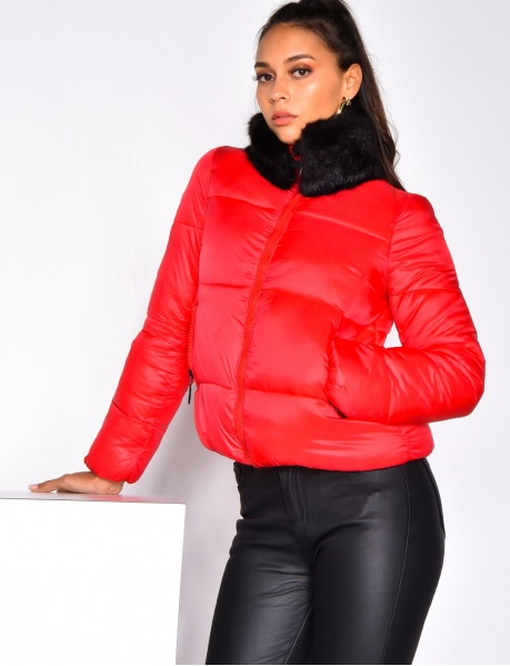 Padded Jacket with Detachable Fur Collar