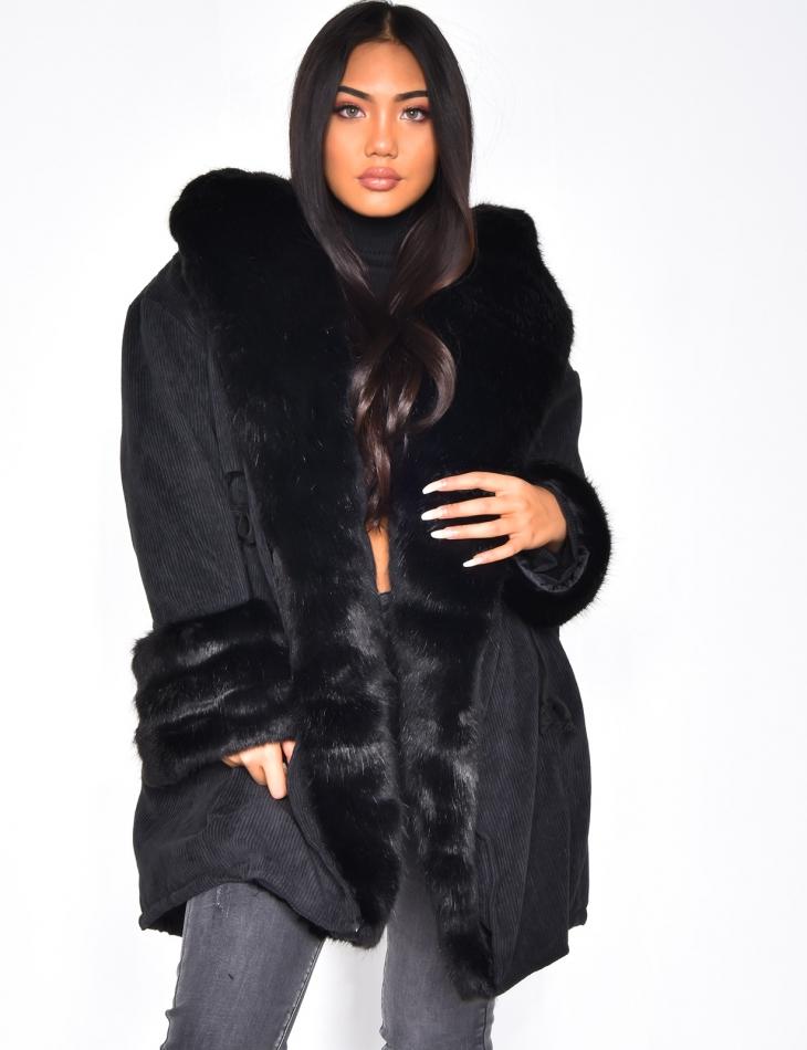 Veste en velour à capuche