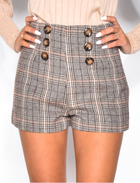 Tweed Shorts with Buttons