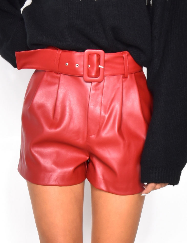 High Waisted PU Leather Shorts with Belt