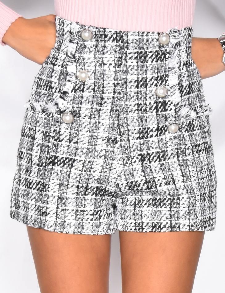 Tweed Shorts with Pearls