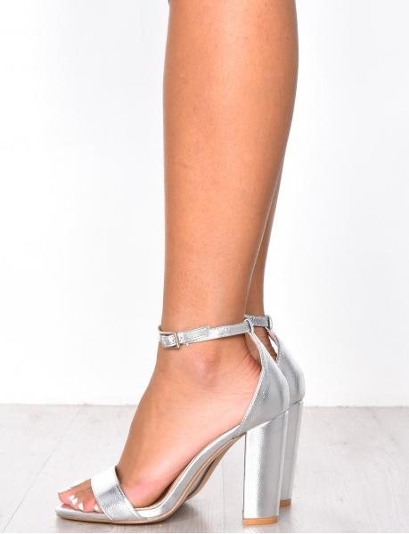 Sandales à talons simili cuir