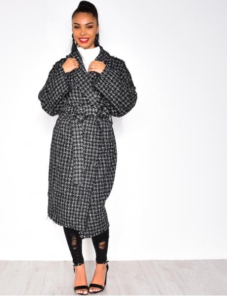 Long Frayed Tweed Coat