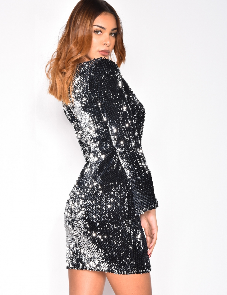 Robe Cache Coeur A Sequins Jeans Industry