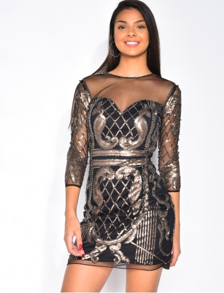 Premium Dress with Embroidered Sequins