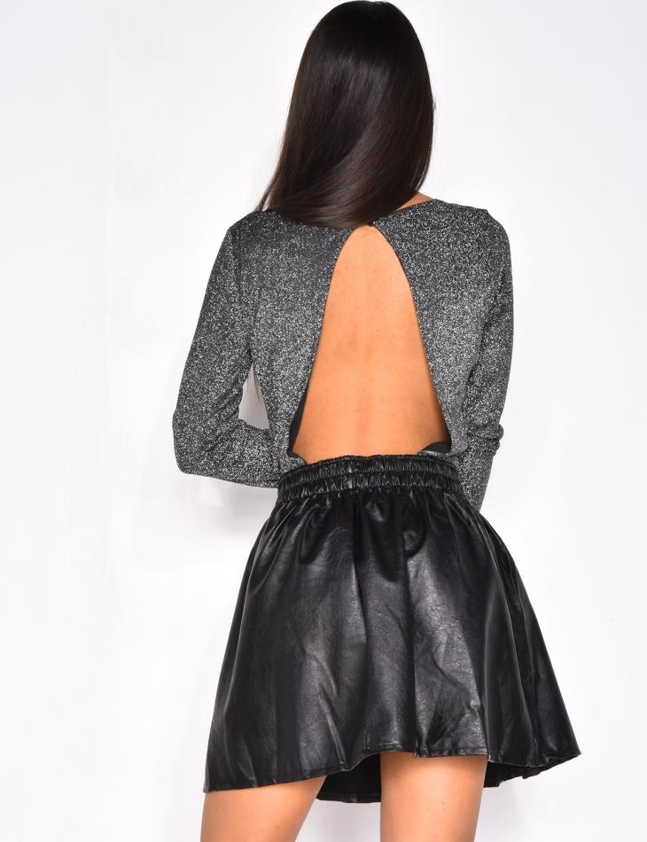 Glittery Open Back Bodysuit