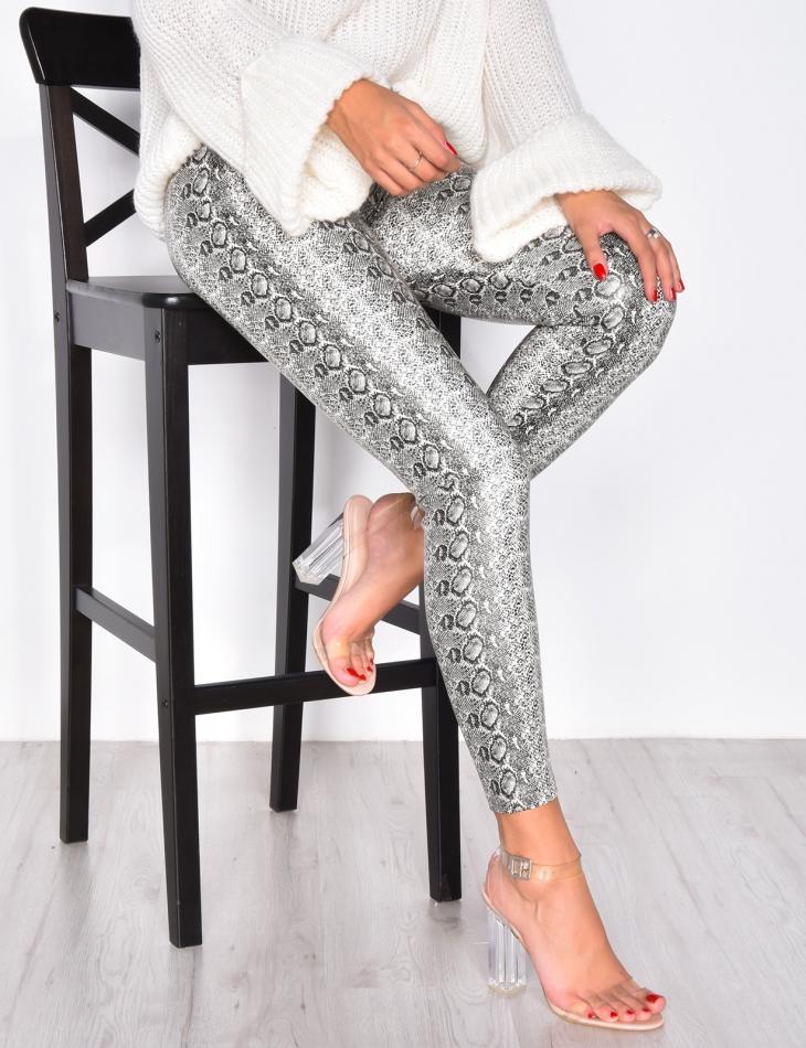 High Waisted Leggings with Snakeskin Print