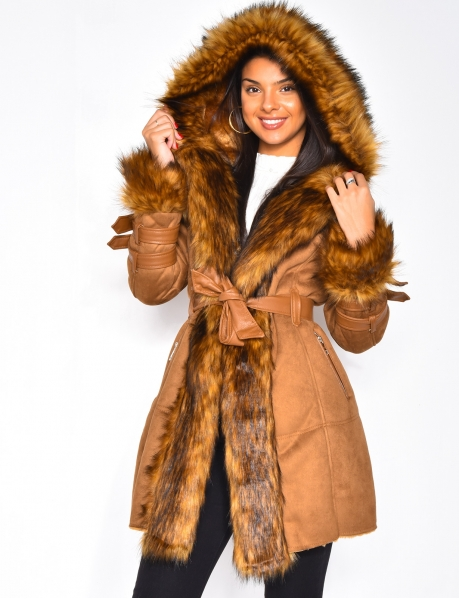 Long Suedette and Faux Fur Coat