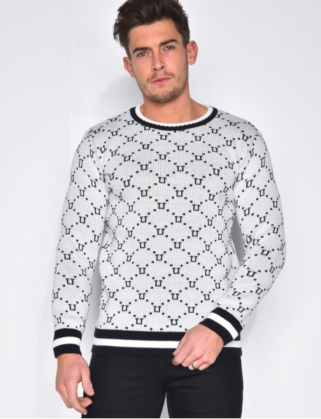 Round Neck Jumper with Geometrical Pattern