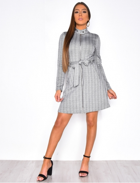 Long Sleeved Dress with Zip and Belt