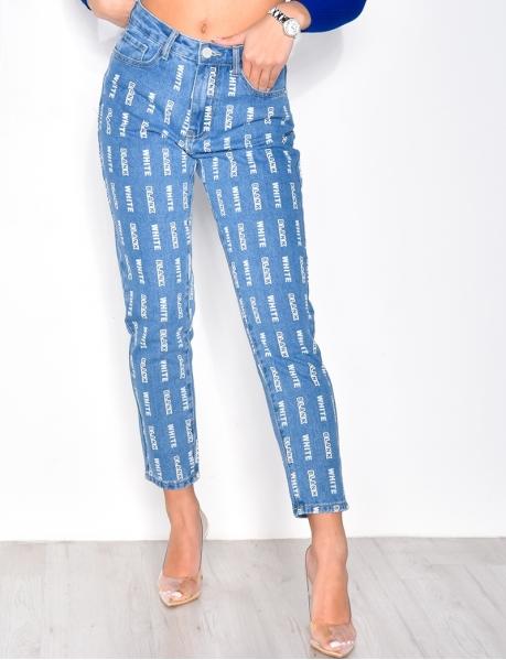 Bedruckte Boyfriend-Jeans