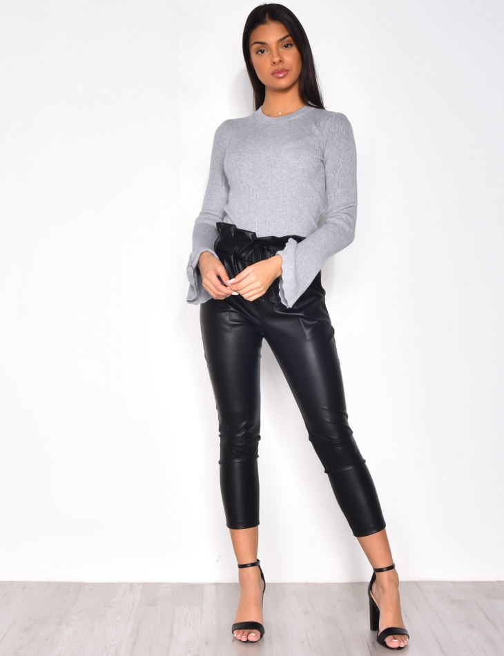 Ribbed Jumper with Flared Sleeves