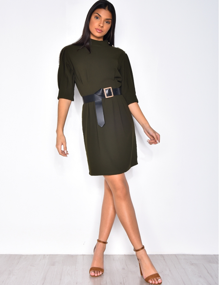 Dress with Officer Buttons and Belt