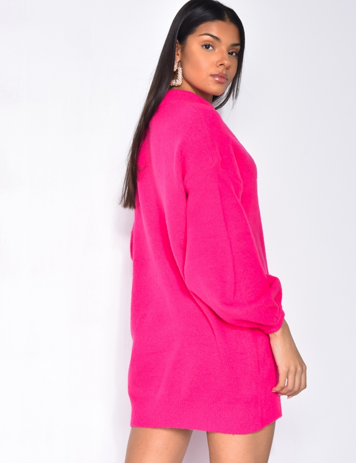 Robe pull col montant à manches larges