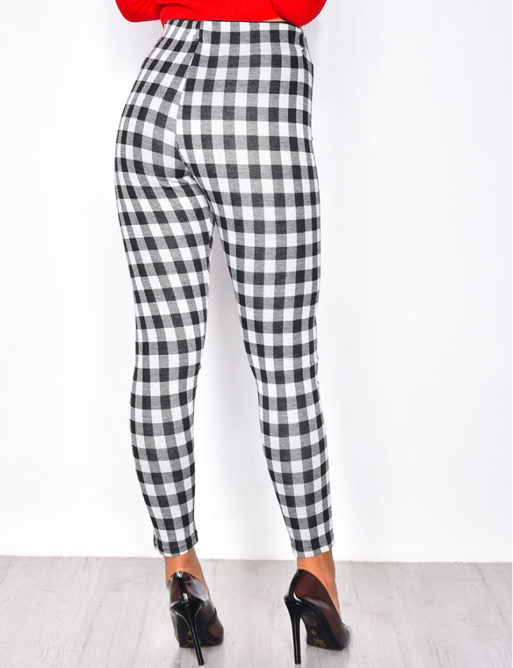 Checked Leggings with Zip