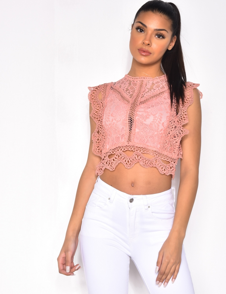 Embroidered Top with Zip at the Back