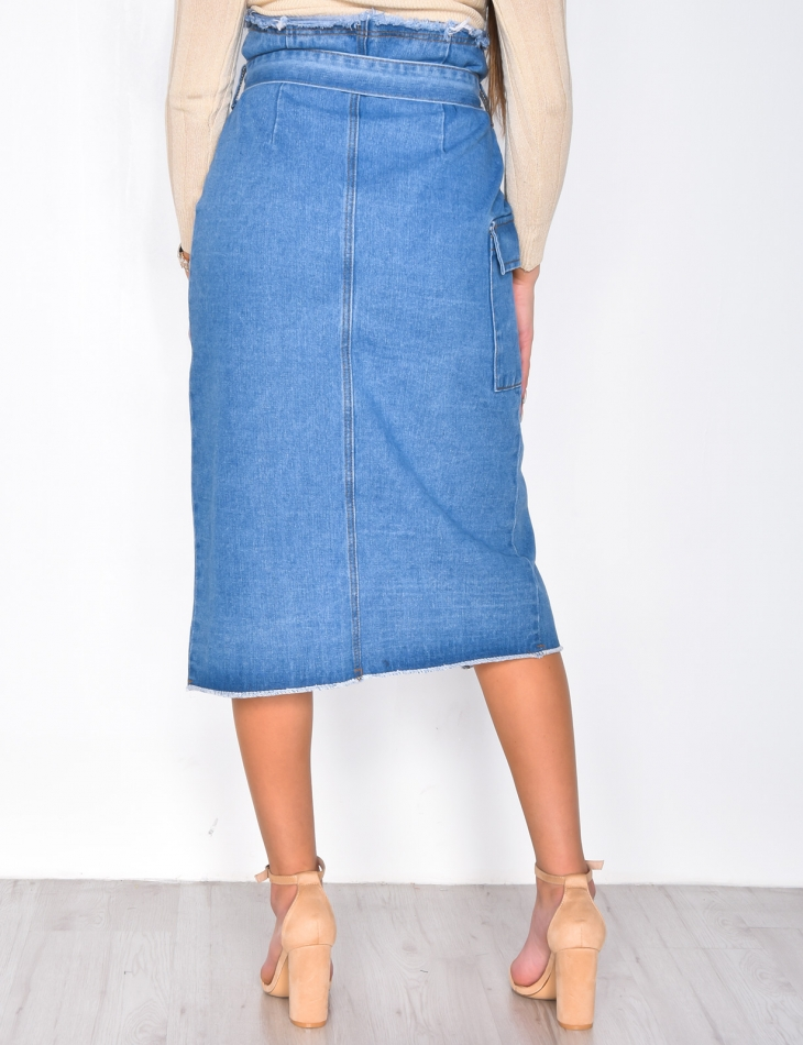 Long Denim Tie Skirt