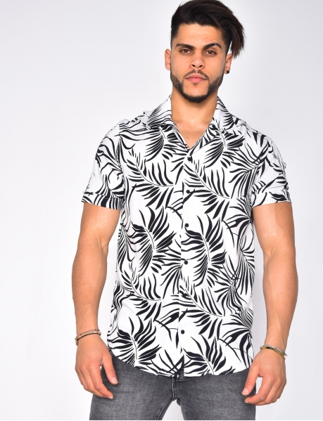 Lightweight Short Sleeved Shirt with Leaves