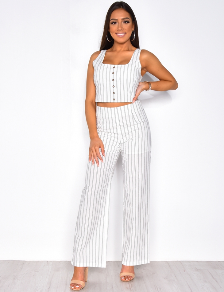 Striped Crop Top with Buttons
