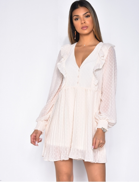 Loose Fit Dress with Plumetis