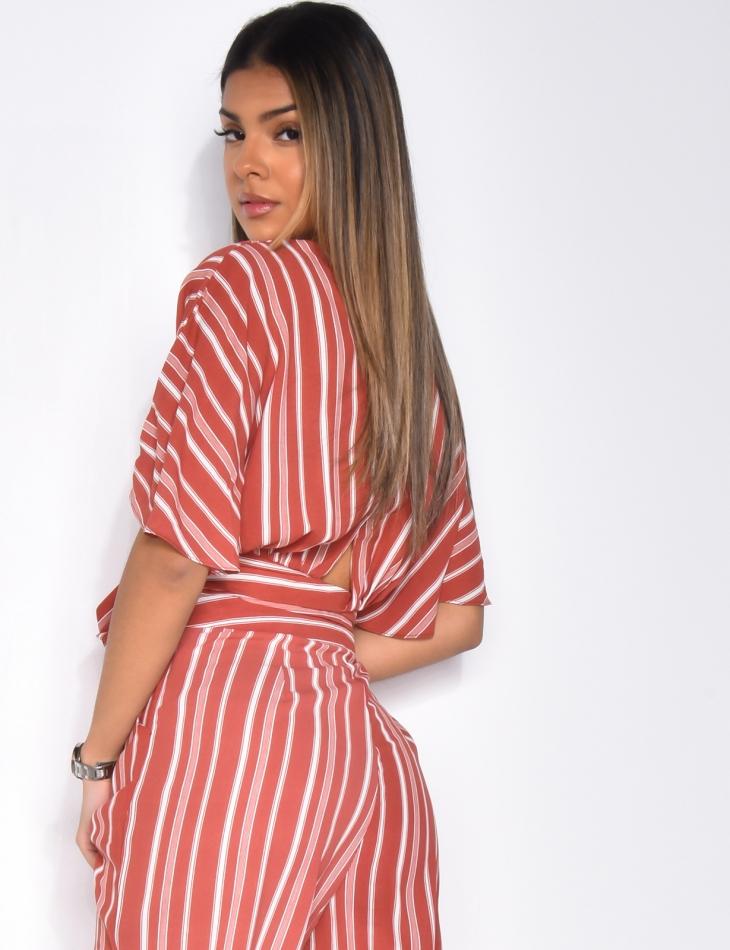 Striped Tie Wrapover Crop Top