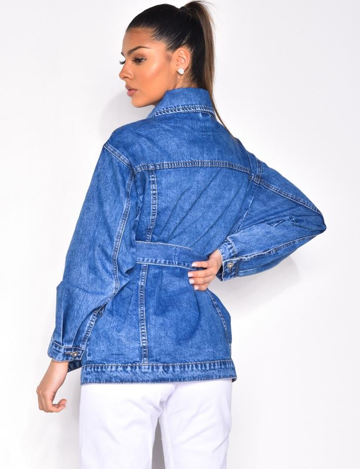 Veste en jeans à ceinture